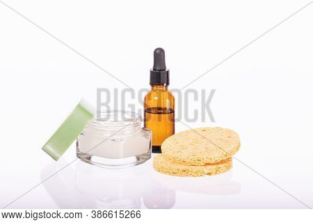 Skin Care Trends. Product Set Of Beauty Cosmetics Daily Cleansing Isolated On White Background. Faci