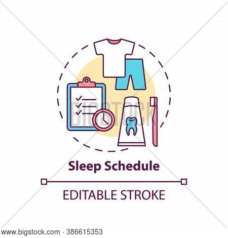 Sleep Schedule Concept Icon. Rest Regulation. Nighttime Routine. Relaxation Control. Health Care Ide