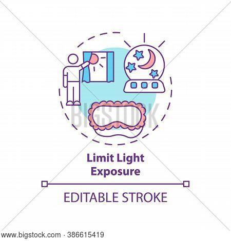 Limit Light Exposure Concept Icon. Avoid Sunlight Before Bedtime. Nighttime Routine. Sleep Improveme