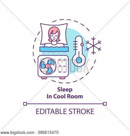 Sleep In Cool Room Concept Icon. Recommendation For Better Dreaming. Asleep With Air Conditioning. S