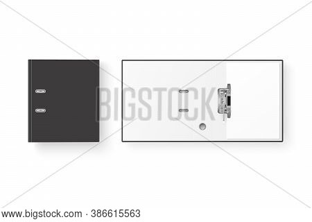 Vector 3d Closed And Opened Realistic Black Blank Office Binder Set With Metal Rings With A4 Paper S