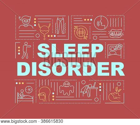 Sleep Disorder Word Concepts Banner. Nighttime Rest And Circadian Rhythm Problems. Infographics With
