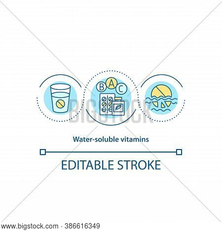 Water Soluble Vitamins Concept Icon. Intake Of Pills And Medicines Idea Thin Line Illustration. Supp