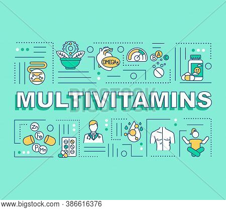 Multivitamins Word Concepts Banner. Healthy Lifestyle With Supplements And Vitamins. Infographics Wi
