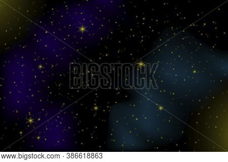 Colored Glow In The Night Sky. Starred Space. Blue Galaxy. Space Nebula. Vector Illustration.