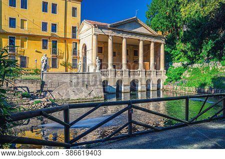 Vicenza, Italy, September 12, 2019: Valmarana Lodge Loggia Palladian Style Building With Columns, Wa