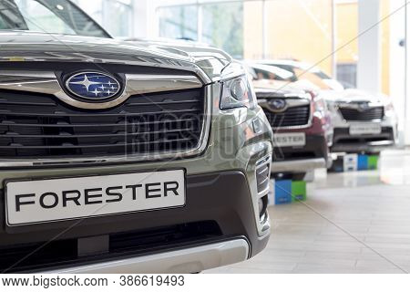 Russia, Izhevsk - August 13, 2020: Subaru Forester And Other New Modern Cars In The Subaru Showroom.