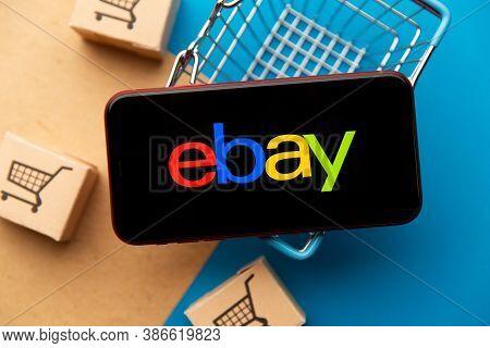 Tula, Russia - September 08, 2020: Ebay App Logo On Iphone Display