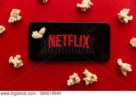 Tula, Russia - September 08, 2020: Netflix Logo On Iphone Display