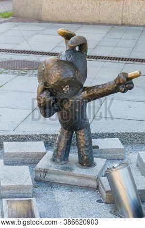Bielsko-biala, Poland - June 15, 2020: Monument Of Reksio. Reksio Is Cult Dog Of The Polish Fairy Ta