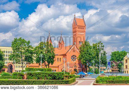 Minsk, Belarus, July 26, 2020: Saints Simon And Helena Roman Catholic Church Or Red Church On Indepe