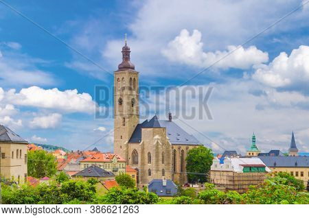 The Church Of St James Catholic Church Building With Clock Tower Close-up In Kutna Hora Historical T