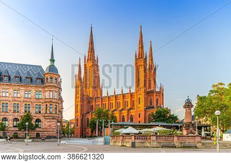 Wiesbaden Cityscape With Evangelical Market Protestant Church Or Marktkirche And City Palace Stadtsc