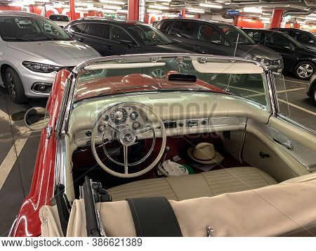 Zurich, Switzerland - August 28, 2020: Interior Of The Red Oldtimer Luxury Car Ford Thunderbird