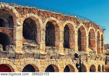 The Verona Arena Limestone Walls With Arch Windows In Piazza Bra Square In Verona City Historical Ce