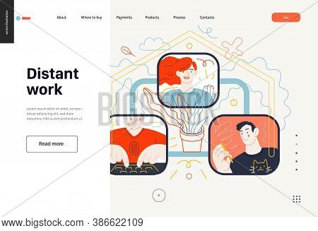Business Topics - Distant Work, Web Template, Header. Flat Style Modern Outlined Vector Concept Illu