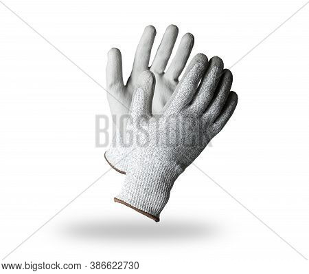 Pair Of Gray Textile Work Gloves With Protective Rubber Layer Isolated On White Background With Soft