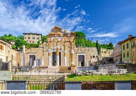 Capitolium Of Brixia Or Temple Of Capitoline Triad Or Tempio Capitolino Ruins And Santuario Repubbli