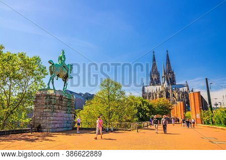 Cologne, Germany, August 23, 2019: Cathedral Roman Catholic Church Saint Peter Gothic Architectural