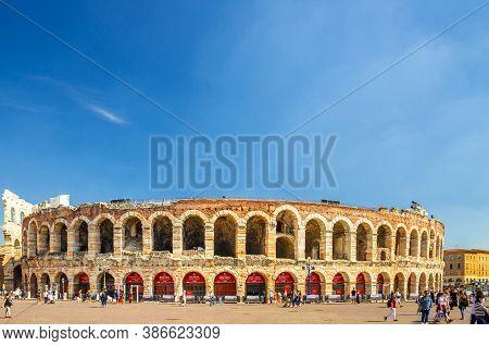 Verona, Italy, September 12, 2019: The Verona Arena In Piazza Bra Square. Roman Amphitheatre Arena D