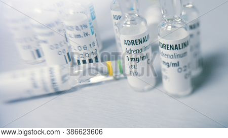 Warsaw, Poland 06.07.2019 - Close Up Of Many Vials Of Adrenaline On Top Of A Medical Table. High Qua