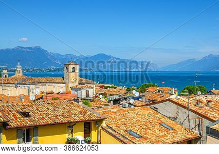 Aerial Panoramic View Of Desenzano Del Garda Town With Bell Tower Of Duomo Di Santa Maria Maddalena