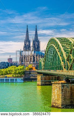 Cologne Historical City Centre With Cologne Cathedral Roman Catholic Church Saint Peter Gothic Style