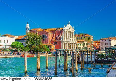 Venice Grand Canal Waterway With Chiesa Di Santa Maria Di Nazareth Or Scalzi Catholic Church, Pier W