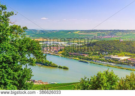 Aerial Panoramic View Of River Rhine Gorge Or Upper Middle Rhine Valley With Vineyards Green Fields,