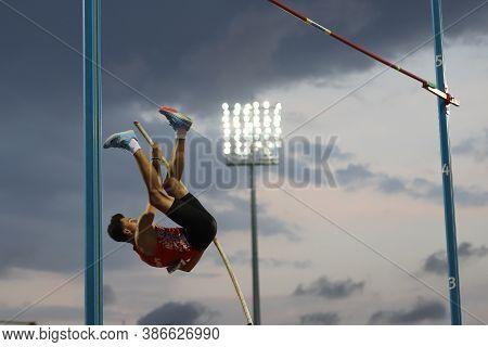 Istanbul, Turkey - September 13, 2020: Undefined Athlete Pole Vaulting During Balkan U20 Athletics C