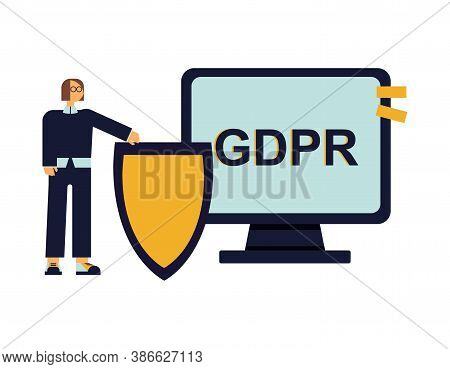 Positive Cartoon Character With A Shield In Front Of Pc Monitor With Gdpr Caption. Gdpr Compliance.