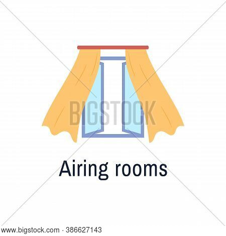 Fresh Air Flat Icon Isolated On White Background. Open Window With Blown Yellow Curtains Indoor View