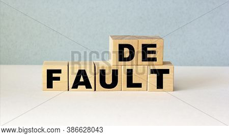 Default Word Made From Building Blocks Isolated On White Background