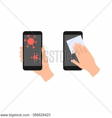 Phone Surface Disinfection Flat Icon. Mobile Phone With Virus Germs. Human Hands Clean And Disinfect