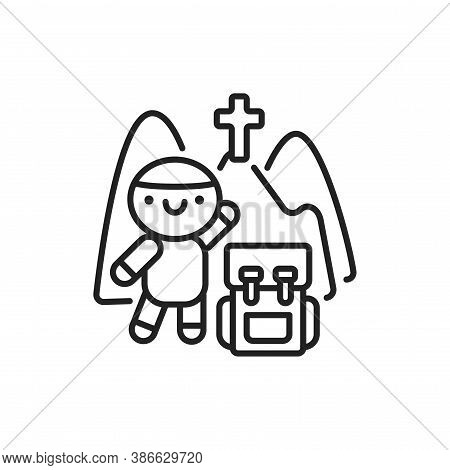 Pilgrimage Line Black Icon. Cute Character With Backpack Kawaii Pictogram. Sign For Web Page, Mobile