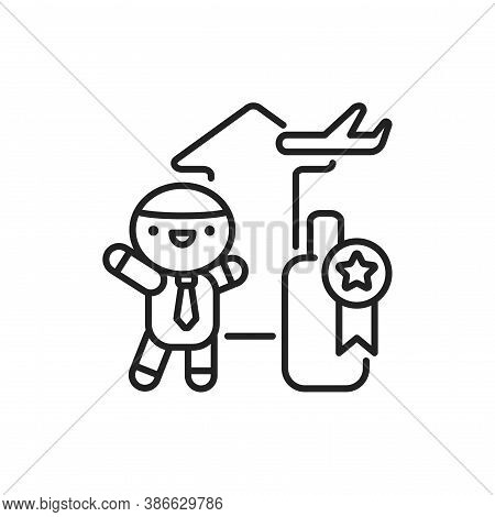 Incentive Tourism Line Black Icon. Cute Character On Training Kawaii Pictogram. Sign For Web Page, M