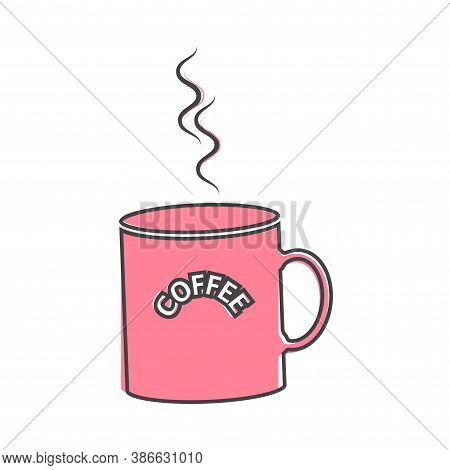 Vector Icon Disposable Cup Of Coffee. Stale Coffee Drink In The Dishes On Cartoon Style On White Iso