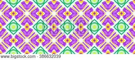 Azulejo Ornament. Vintage Traditional Illustration. Tie Dye Folk Ornamental Textile Print Design. Re