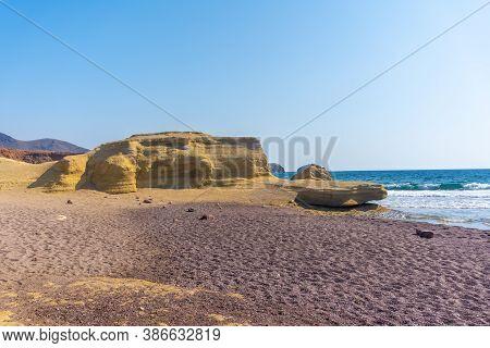 Beautiful Rocks At Playa Los Escullos In The Natural Park Of Cabo De Gata, Nijar, Andalucia. Spain,