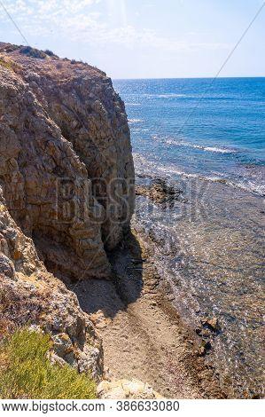 Walls Of The Rocks Of La Isleta Del Moro In The Natural Park Of Cabo De Gata, Nijar, Andalucia. Spai