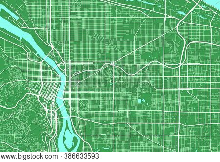 Detailed Map Of Portland City Administrative Area. Royalty Free Vector Illustration. Cityscape Panor
