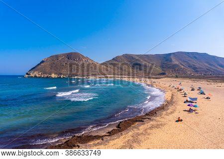 The Beautiful Beach In Summer Of Playazo De Rodalquilar In The Natural Park Of Cabo De Gata, Nijar,