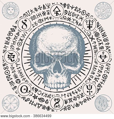 Illustration With A Sinister Human Skull And Magic Symbols. Hand-drawn Vector Banner With Sun, Moon