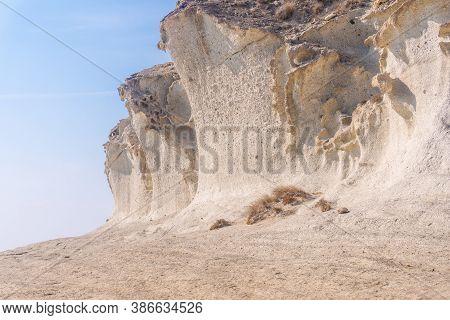 The Gigantic White Rock Walls At Cala De Enmedio In The Cabo De Gata Natural Park, Nijar, Andalucia.