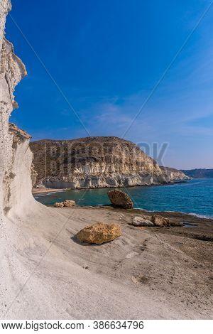 Visiting The White Rock Walls In Cala De Enmedio In The Cabo De Gata Natural Park, Nijar, Andalucia.