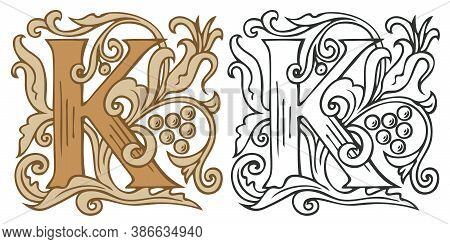 Initial Letter K With Vintage Baroque Decorations. Two Vector Uppercase Letters K In Beige And Black