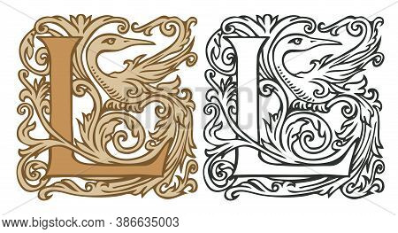 Initial Letter L With Vintage Baroque Decorations. Two Vector Uppercase Letters L In Beige And Black