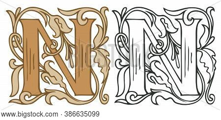 Initial Letter N With Vintage Baroque Decorations. Two Vector Uppercase Letters N In Beige And Black