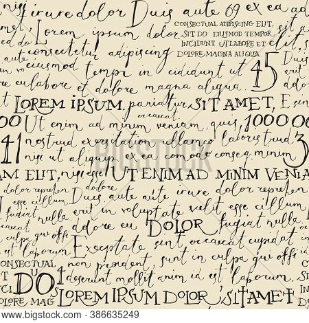 Vector Seamless Pattern With Handwritten Text On The Old Paper Backdrop. Lorem Ipsum. Decorative Rep