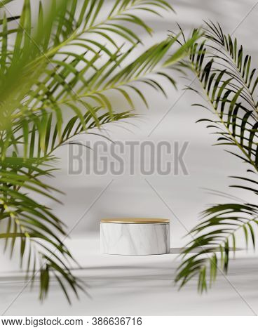 3d Podium, Tropical  Pedestal On White Background With Green Natural Palm Leaf. Marble, Gold Display